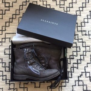 Allsaints grey suede leather boots